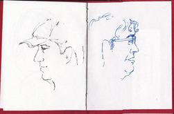 Portraits using Pete Scull's mini-Ripper sketchbook